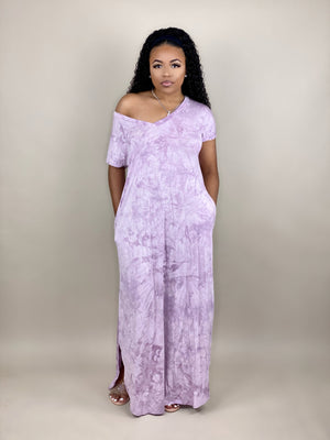 lavender tie dye maxi dress