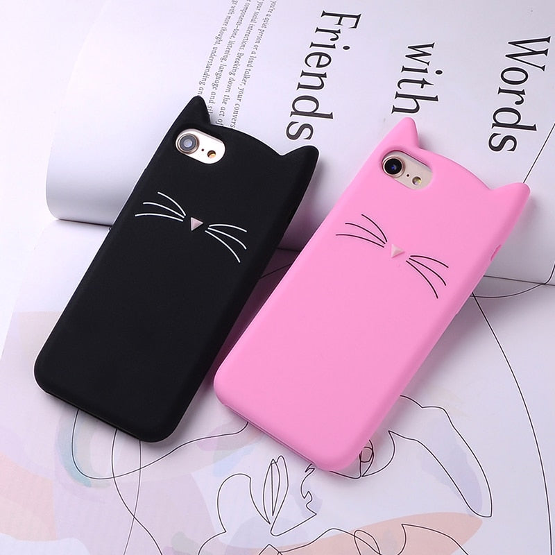 Cute 3D Silicone Cartoon Cat Pink Black Glitter Soft Phone Case Cover Coque Fundas For iPhone 7