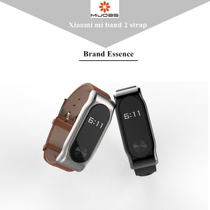Mijobs Genuine Leather Strap For Xiaomi Mi Band 2 Smart Watch Screwless Bracelet mi band 2 Strap