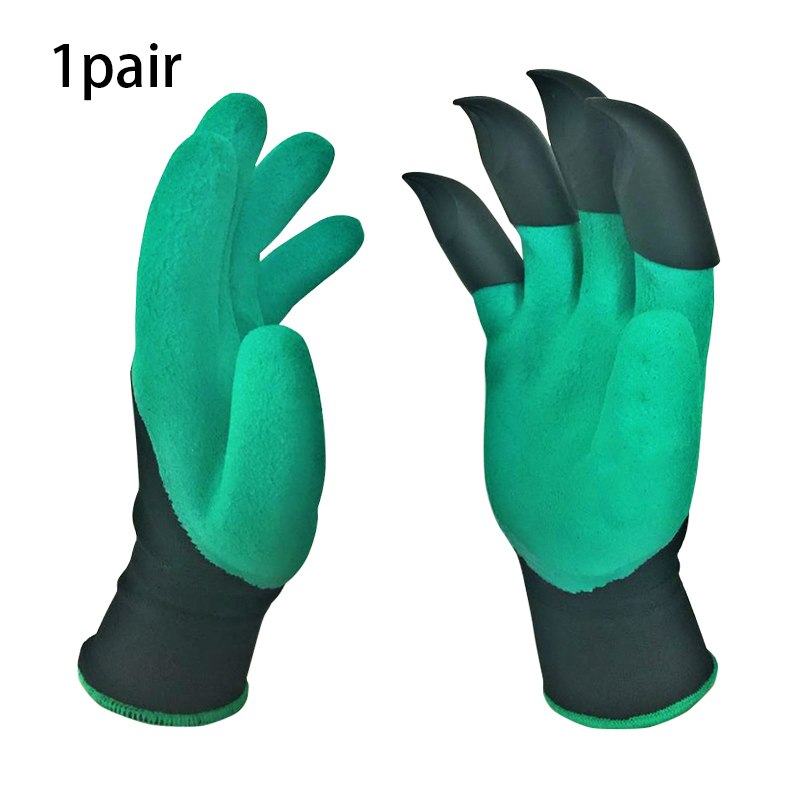 1 Pair Garden Gloves With Claws 4 ABS Plastic Garden Genie Rubber Gloves Quick Easy to Dig and Plant