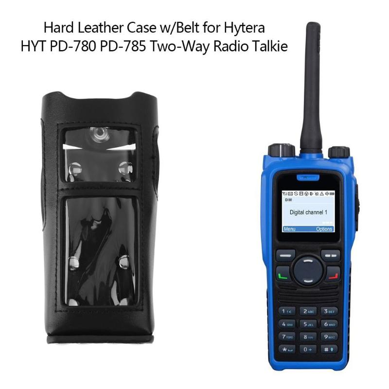 Alloet Hard Leather Carrying Case Holder with Belt Clip for Digital Hytera HYT PD-780 PD-785 Two-Way