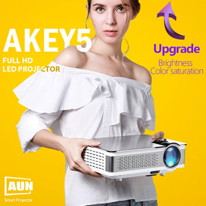 AUN Full HD Projector. AKEY5. 1920x1080P, Upgraded 3800-6000Lumen(Peak) (Optional Android 6.0 LED