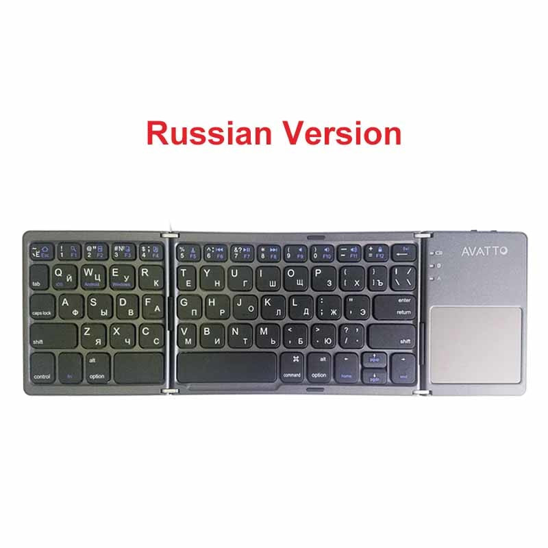 [AVATTO] A18 Portable Twice Folding Bluetooth Keyboard BT Wireless Foldable Touchpad Keypad for