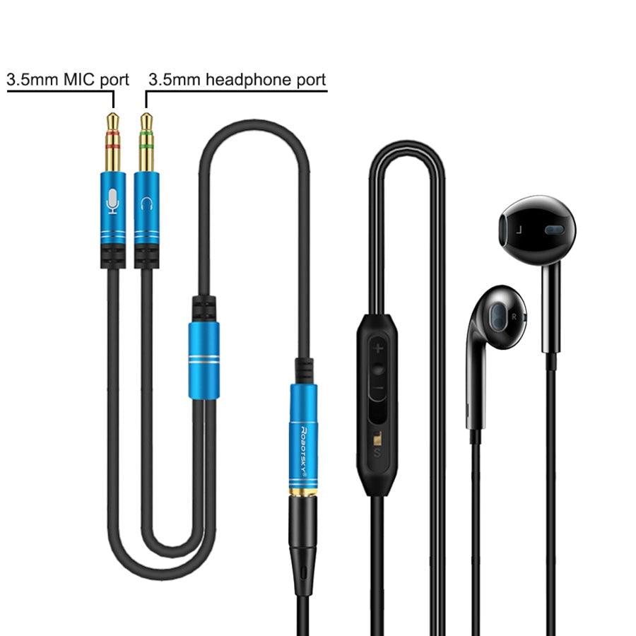 3.5mm Jack Microphone Headset Audio Splitter Cable Female to 2 Male Headphone Mic Aux Extension