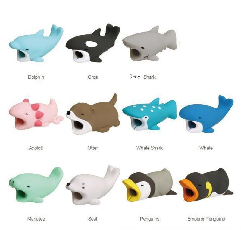 1Pcs Cute Animal Cable Protector Cord Wire Cartoon Protection Mini Silicone Cover Charging Cable