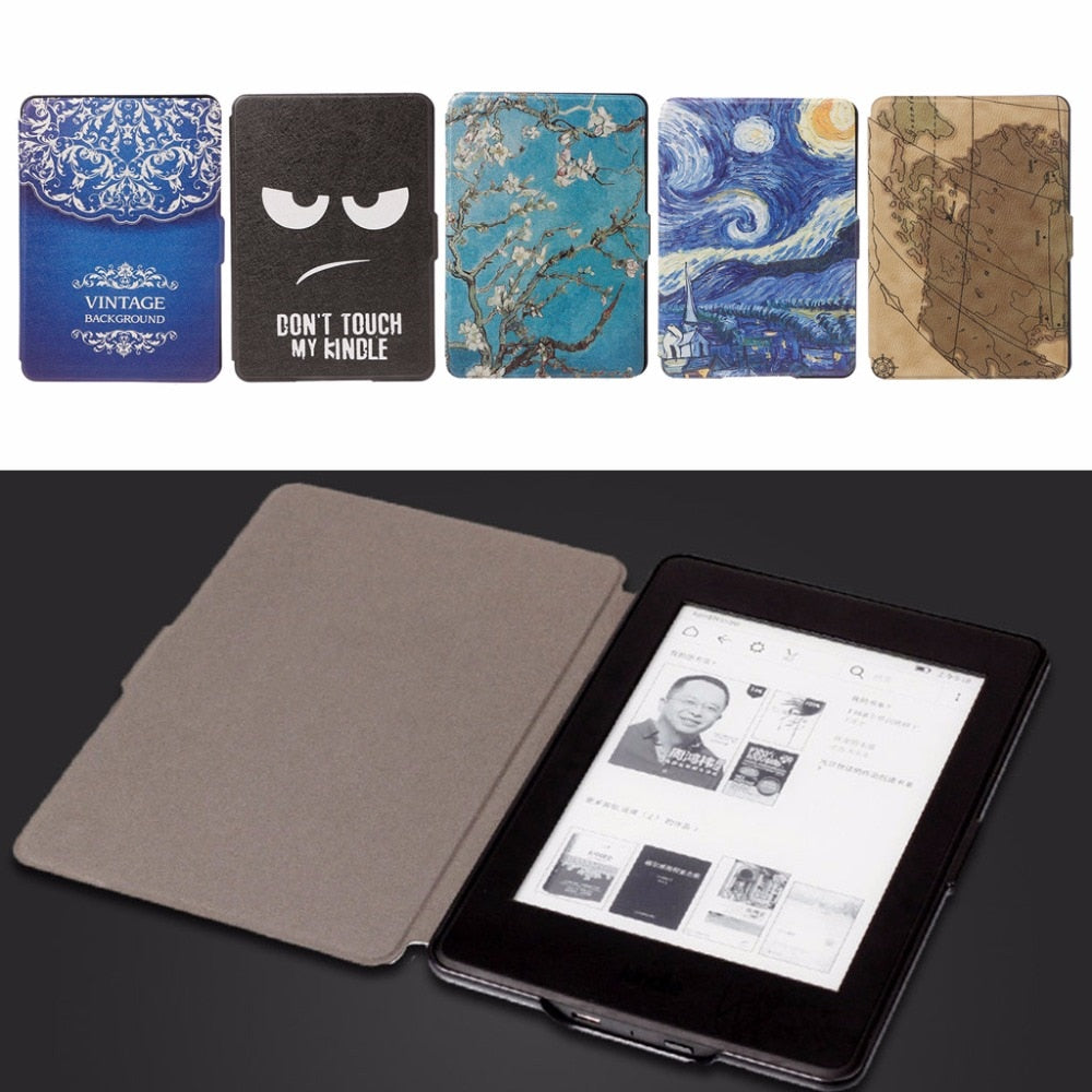 1Pc Slim Faux Leather Folio Flip Case Protective Shell Skin Cover Auto Sleep/Wake For Amazon