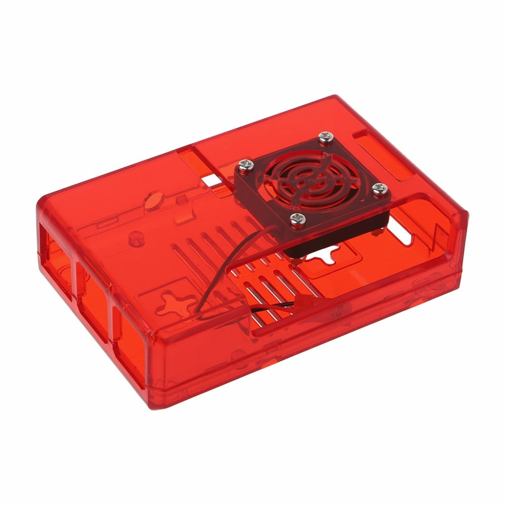 ABS Case Clear Box Shell Cover With RPI CPU Cooling Fan Cooler For Raspberry Pi 2 / 3 Clear