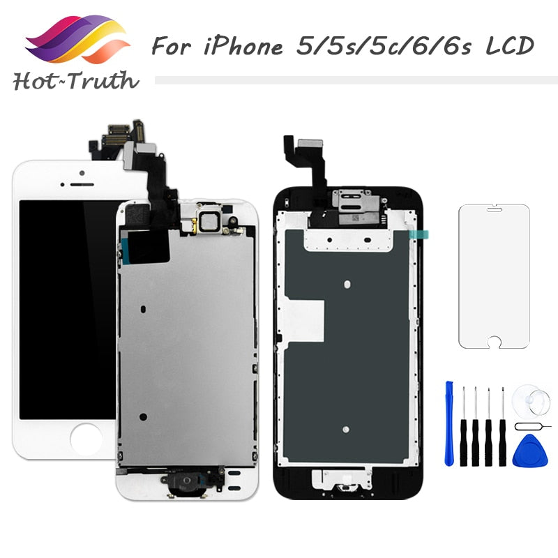 AAA+++ LCD For iPhone 5 5g 5s 5c Screen 6 6g 6s LCD Display Home Button+Front Camera+Speaker