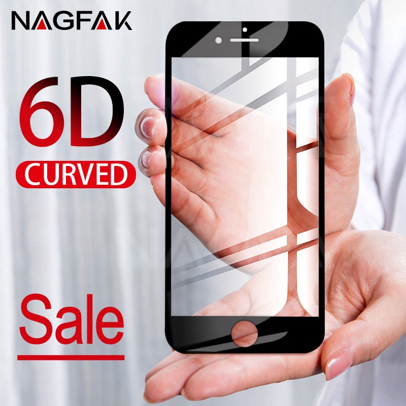 6D Curved Edge Full Cover Screen Protector For iPhone 7 6S 8 X Tempered Glass On The For Apple