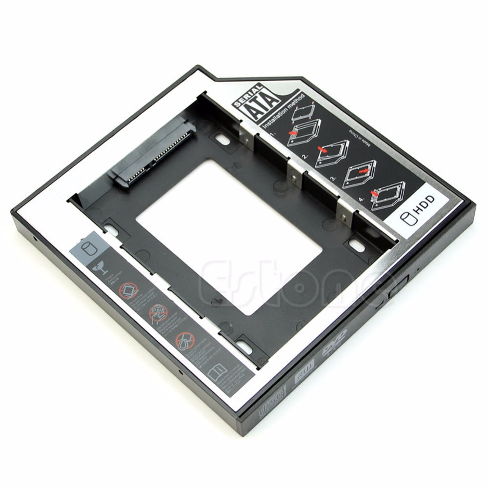 12.7mm SATA 2nd HDD SSD Universal Hard Drive Caddy for CD DVD-ROM Optical Bay