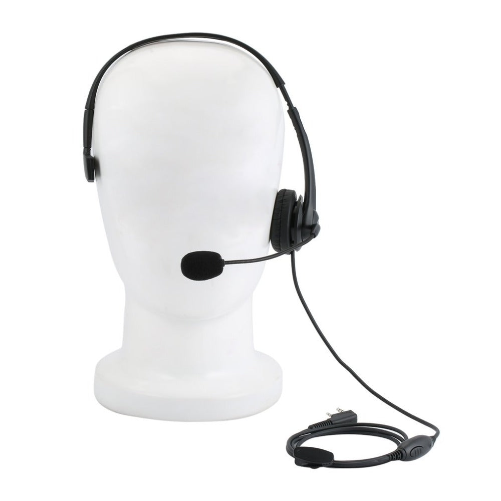 2Pin Walkie Talkie Headset Sponge Earpad Earpiece Noise Cancelling Overhead PTT MIC Headphone for
