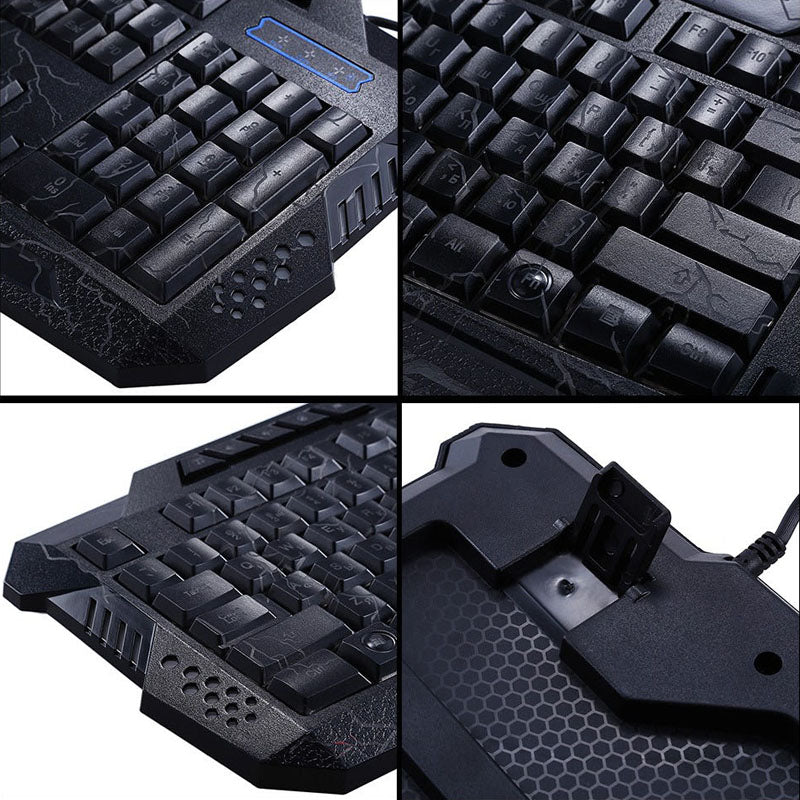Darshin M300 /English Backlit Keyboard LED 3-Color USB Wired Colorful Breathing Waterproof