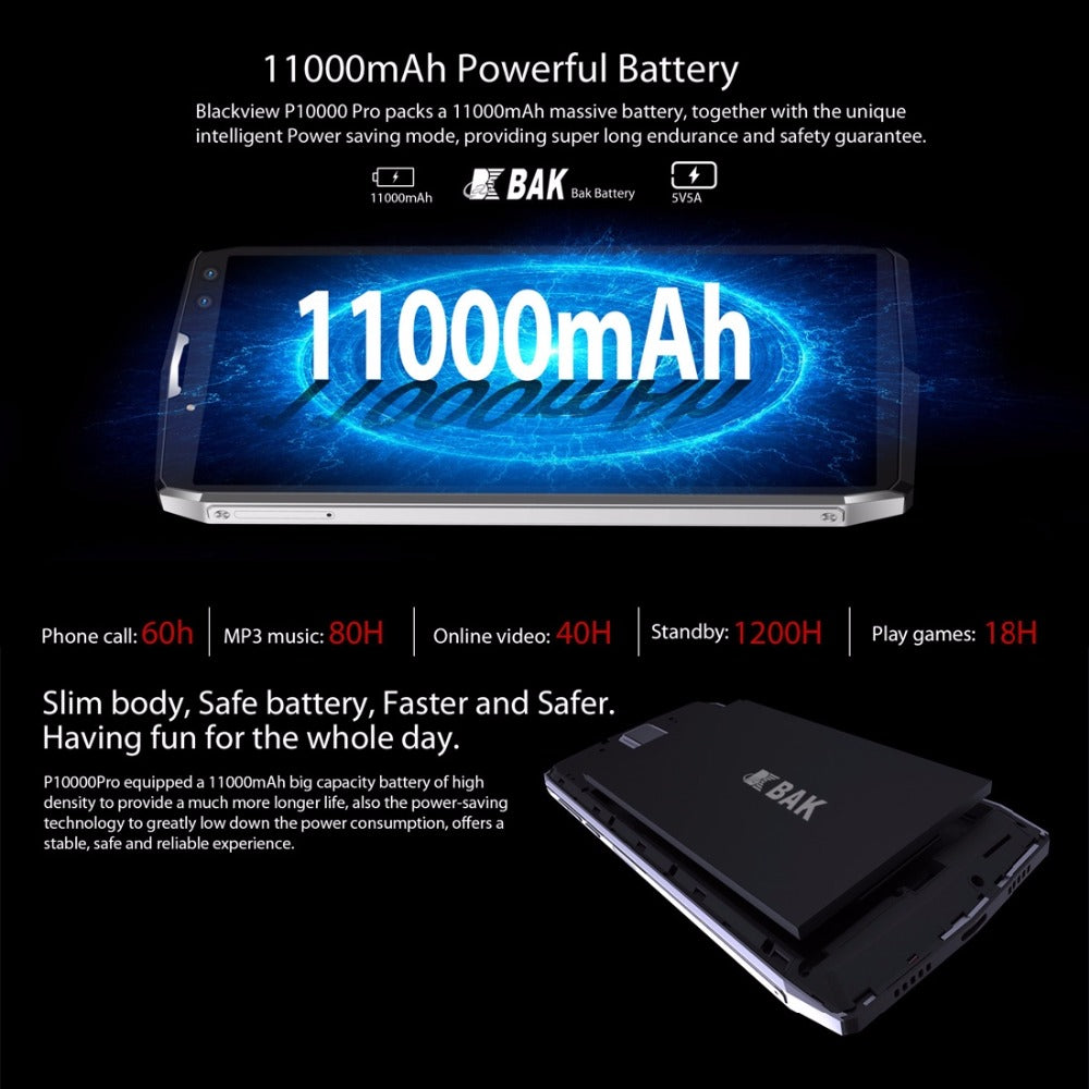 "Blackview P10000 Pro Smartphone 5.99"" incell FHD MTK6763 Octe Core 11000mAh 4GB 64GB 16MP Dual"