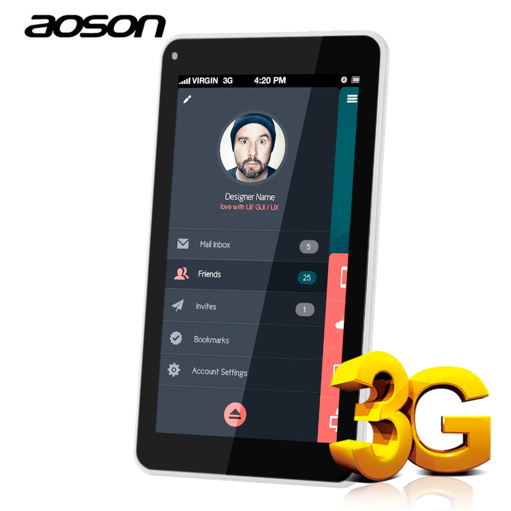 Aoson Tablet 7 inch DUAL SIM Card 3G Phone Call Tablets Android 7.0 Tablet PC IPS screen GPS WIFI