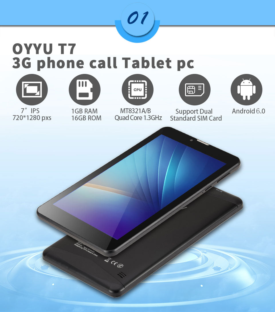 3G Phone Call Tablet pc Android 6.0 OYYU T7 MT8321A/B Quad Core 1.3GHz 1G RAM+16GB ROM WiFi