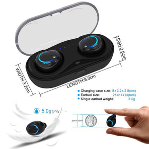True Wireless Earbuds Stereo Bluetooth Earphones Wireless Bluetooth Headphone Earphone with Built-in