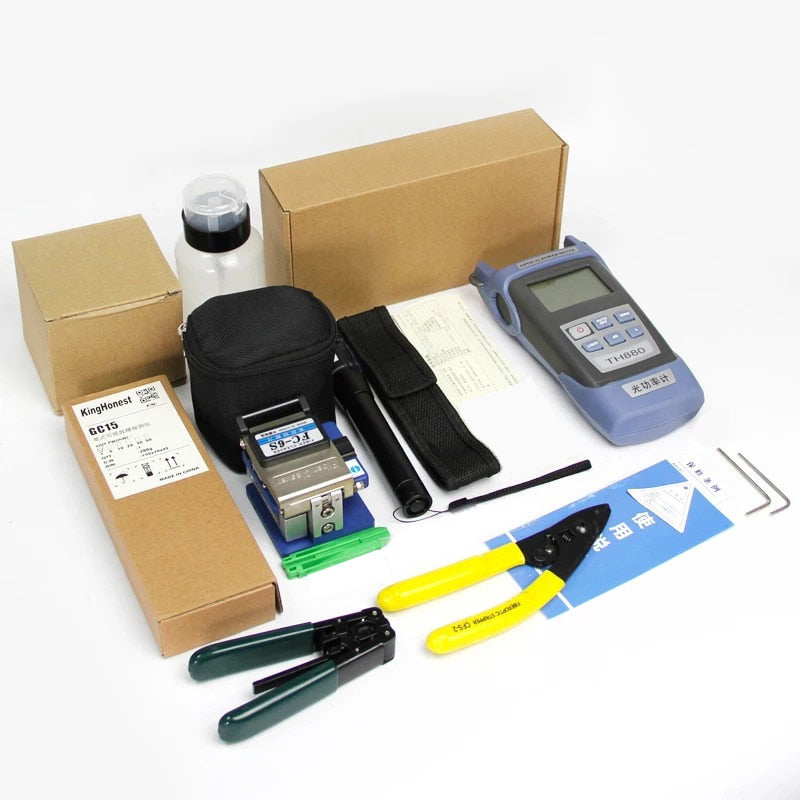 12pcs/set Fiber Optic FTTH Tool Kit with FC-6S Fiber Cleaver and Optical Power Meter 5km Visual