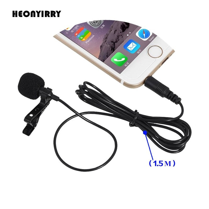2 PCS 3.5mm Jack Microphone Lavalier Tie Clip-on Lapel Mikrofon Microfono Mic for Mobile Phone For
