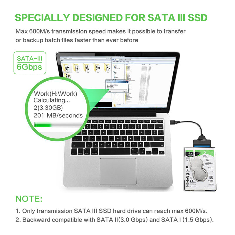 "22 Pin SATA To USB 3.0 2.5 Inch Hard Drive Adapter Cable Converter For 2.5"" Laptop HDD SSD 20cm"