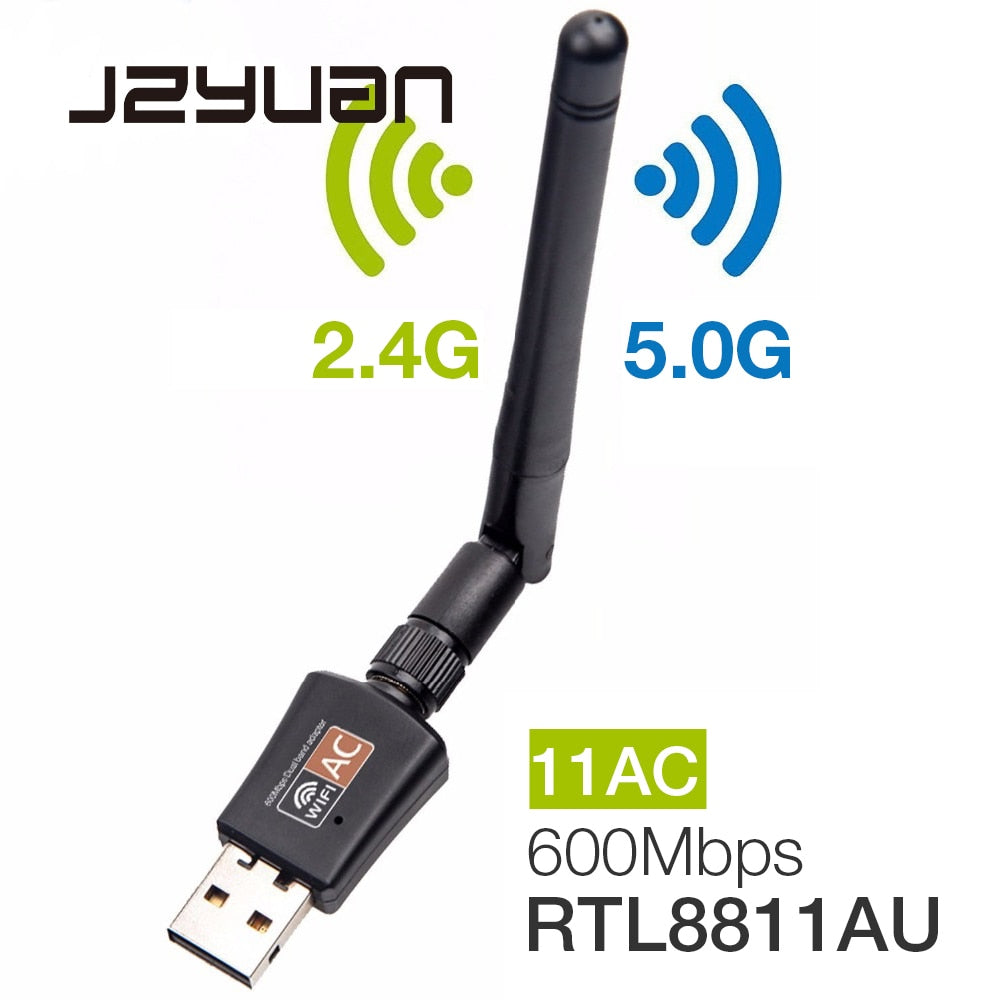 600Mbps 5Ghz 2.4Ghz USB Wifi Adapter USB Dual Band RTL8811AU Wifi Antenna Dongle LAN Adapter For