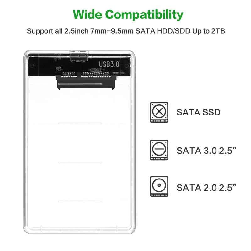2.5 inch Transparent USB3.0 to Sata 3.0 HDD Case Tool Free 5 Gbps Support 2TB UASP Protocol Hard