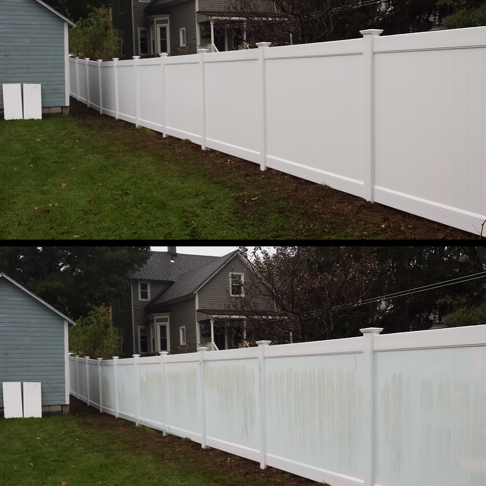 white fence before and after