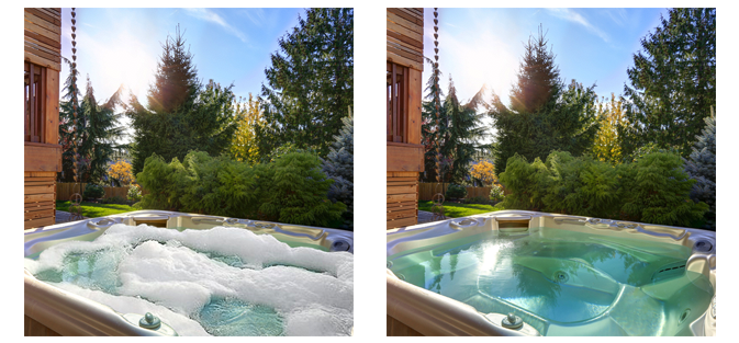 clear foamy hot tub