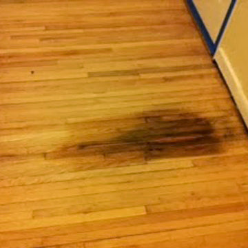 blotchy wood floor