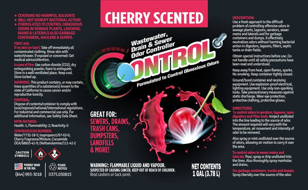 CHERRY SCENTED LIQUID DEODORIZER FOR DRAINS, SEWERS, DUMPSTERS, TRASH CANS & MORE!