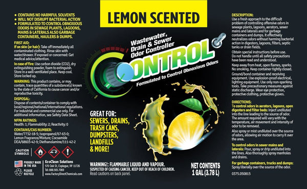 Lemon Scented Liquid Deodorizer for Drains, Sewers, Dumpsters, Trash Cans & More!