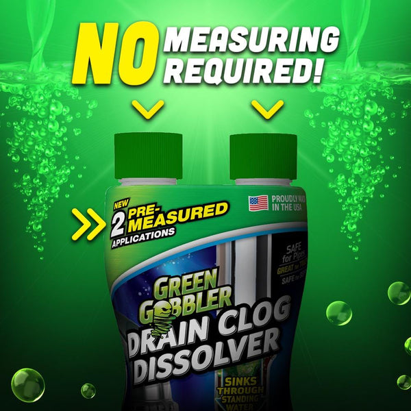 Green Gobbler DISSOLVE Drain Opener - Liquid Hair & Grease Clog Remover (32 oz.)