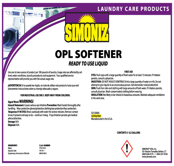 OPL LIQUID LAUNDRY FABRIC SOFTENER - 5 Gallon Pail