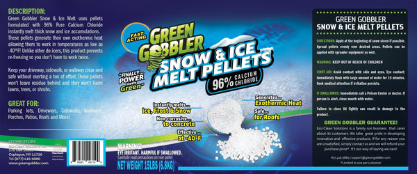 Green Gobbler 96% SNOW & ICE Melter  Pellets  - Pure Calcium Chloride