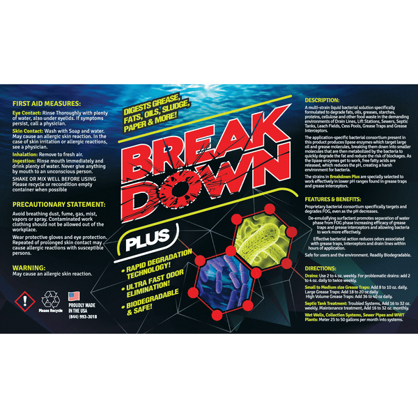 Break Down Plus Enzyme Drain, Septic & Grease Trap Cleaner