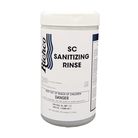 SC Sanitizing Rinse - Powdered chlorine sanitizer , 6 x 2.5 lb. Jar