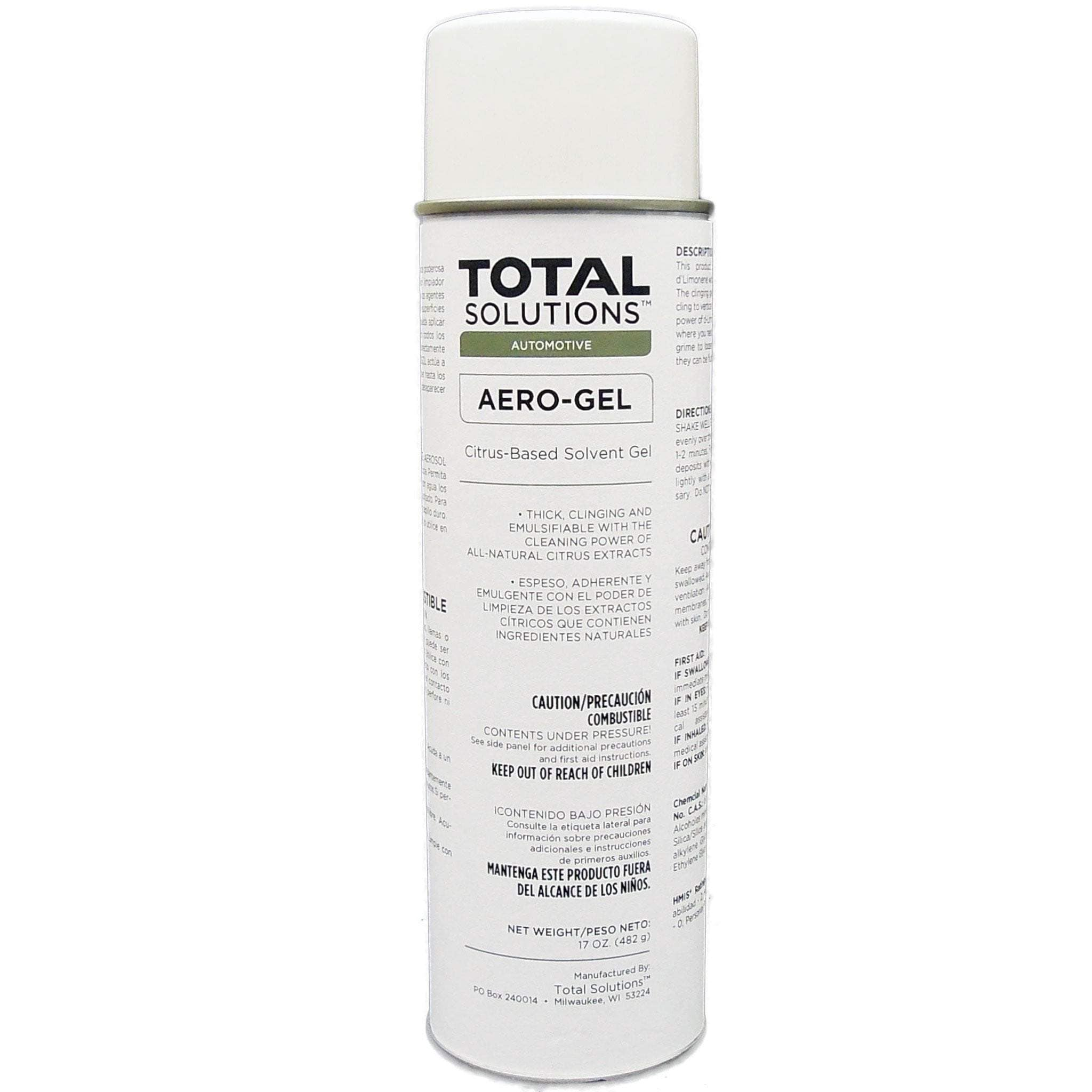 Aero-Gel - Aerosol with 70% D- Limonene, an emulsifiable aerosol degreasing gel- 12 Can Case