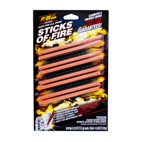 STICKS OF FIRE - Prevent and Avoid Drain Buildup - 8 Sticks per Pack