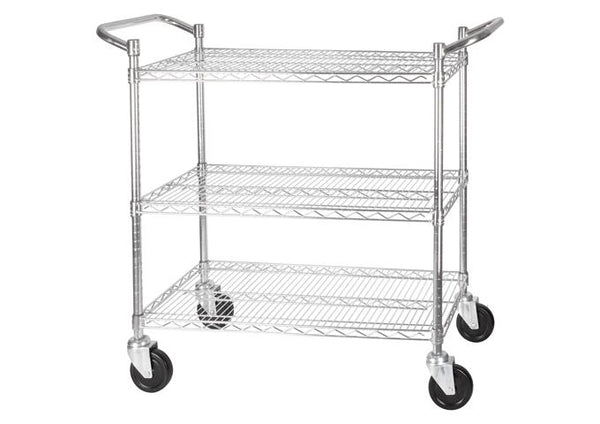 3-tier wire shelving cart- chrome 48""