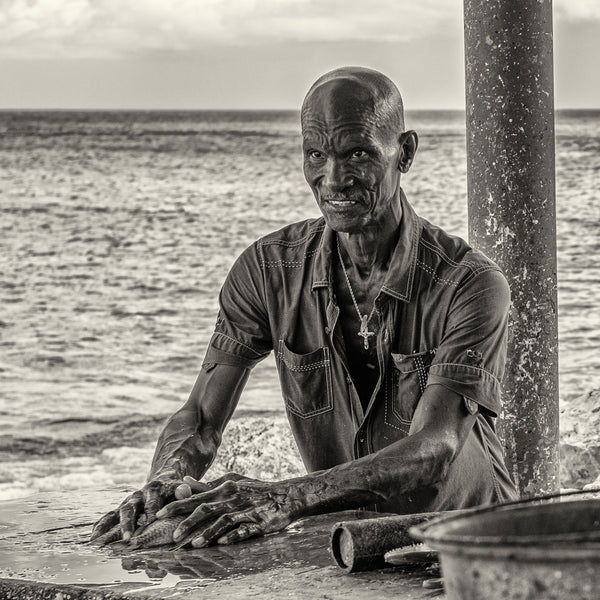 Fisherman with cross