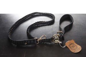 Handmade Braided Dog Leashes - Black/Grey