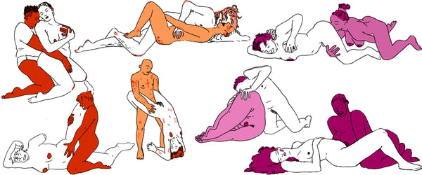 lesbian sex positions header - collage of positions
