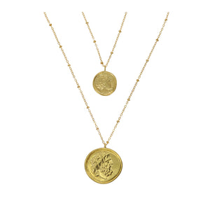 Smykke Double Roman Coin Necklace