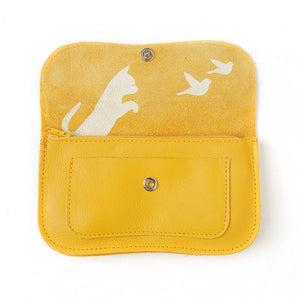 Lommebok Cat Chase, medium. Yellow