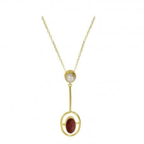 Smykke Moholy Red Agate and Pearl