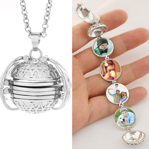 4 Photo Pendant Locket Necklace Memory Floating Angel Wings
