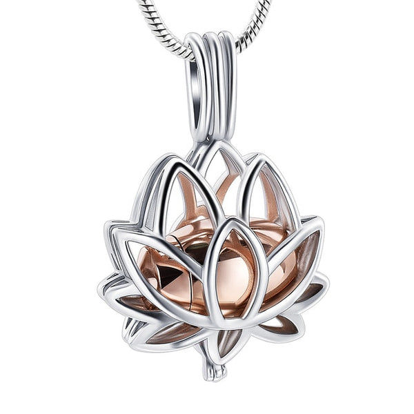 Lotus Stainless Steel Keepsake Pendant