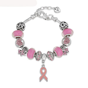 Breast Cancer Pink Ribbon Awareness Bracelet