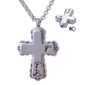 Stainless Steel Cross with Footprints Keepsake Pendant