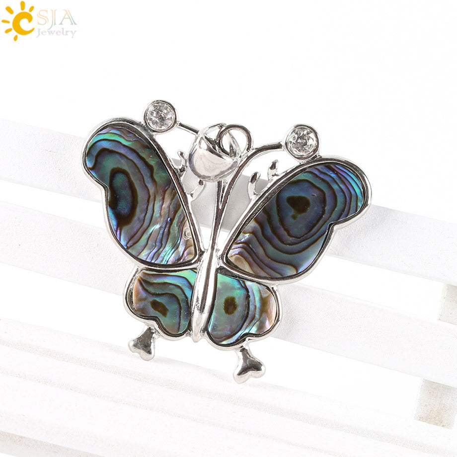 New Zealand Butterfly Pendant Natural Paua Abalone Shell Pendant
