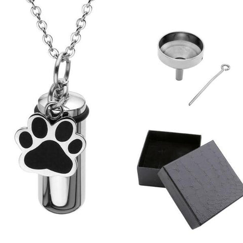 Stainless Steel Pet Puppy Dog Paw Cylinder Pendant
